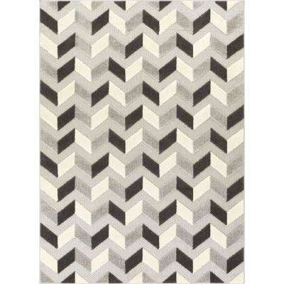Dorado Bela 7 ft. 10 in. x 9 ft. 10 in. Modern Geometric Chevron Grey High-Low Indoor/Outdoor Area Rug