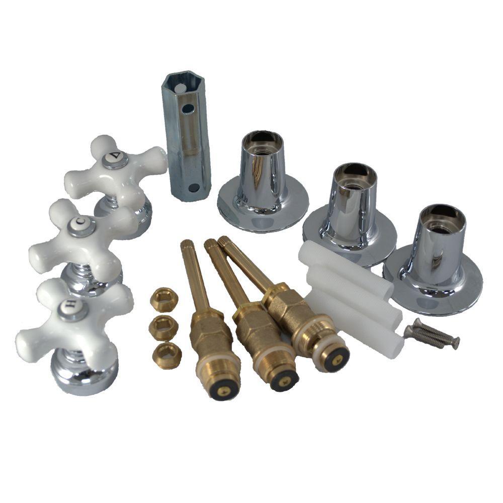 PartsmasterPro Tub and Shower Rebuild Kit with Porcelain Cross-Arm Handle for Price Pfister by PartsmasterPro