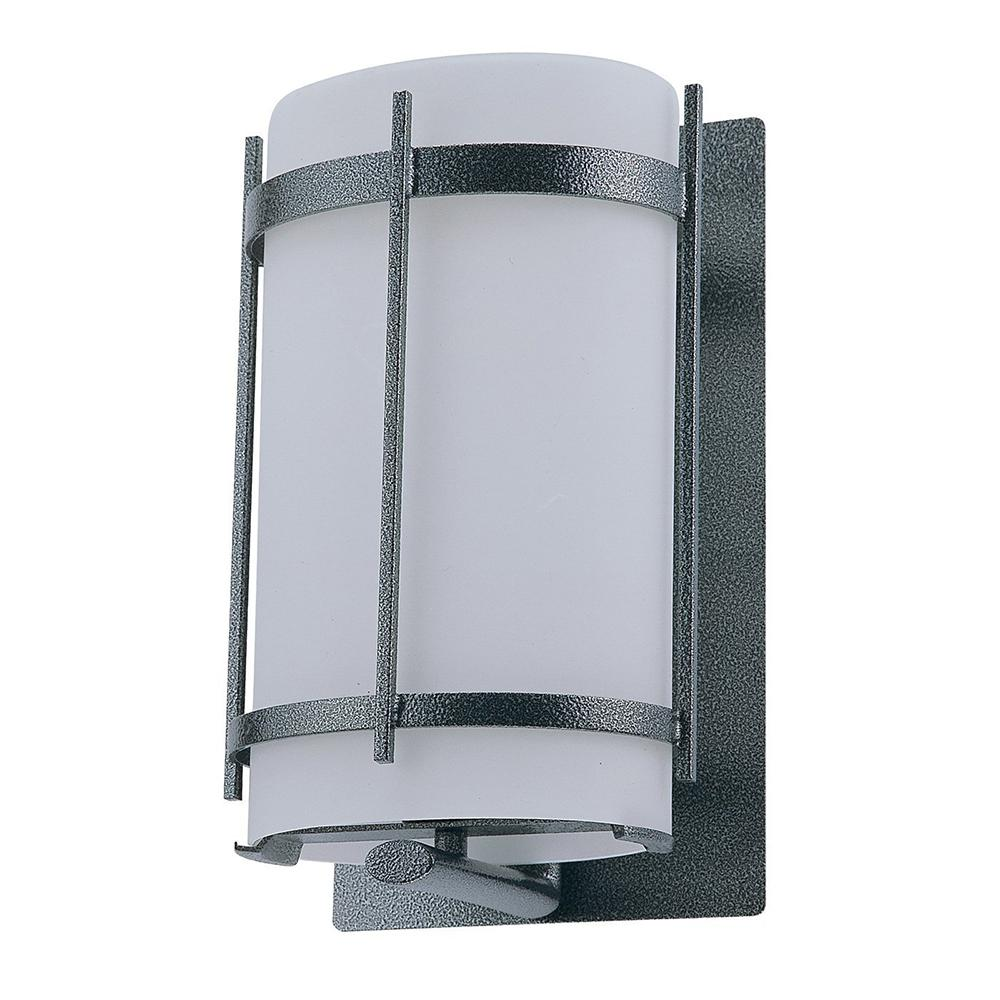Charlotte 1-Light Hammered Black Outdoor Wall Mount Sconce