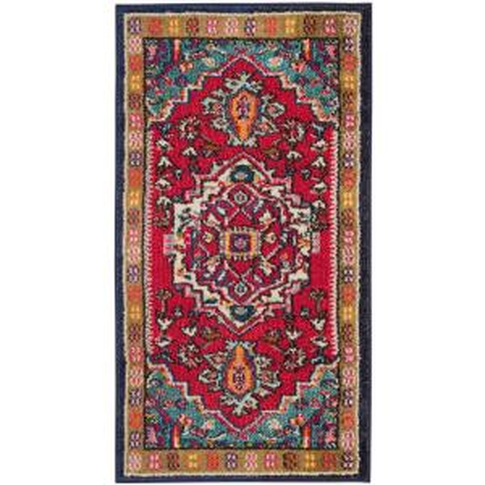 safavieh monaco red turquoise 3 ft x 5 ft area rug mnc207c 3 the home depot. Black Bedroom Furniture Sets. Home Design Ideas