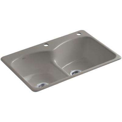 Langlade Smart Divide Drop-In Cast-Iron 33 in. 2-Hole Double Bowl Kitchen Sink in Cashmere