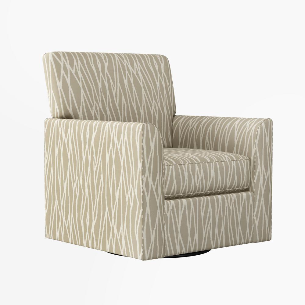 Braiden Oatmeal Tan Geometric Print Modern Half Round Arm Swivel Club Chair