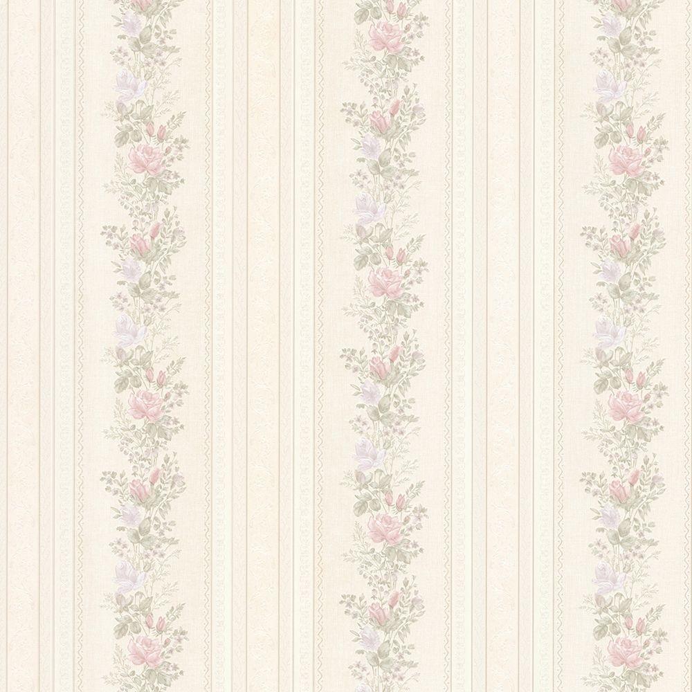 Alexis Pastel Satin Floral Stripe Wallpaper