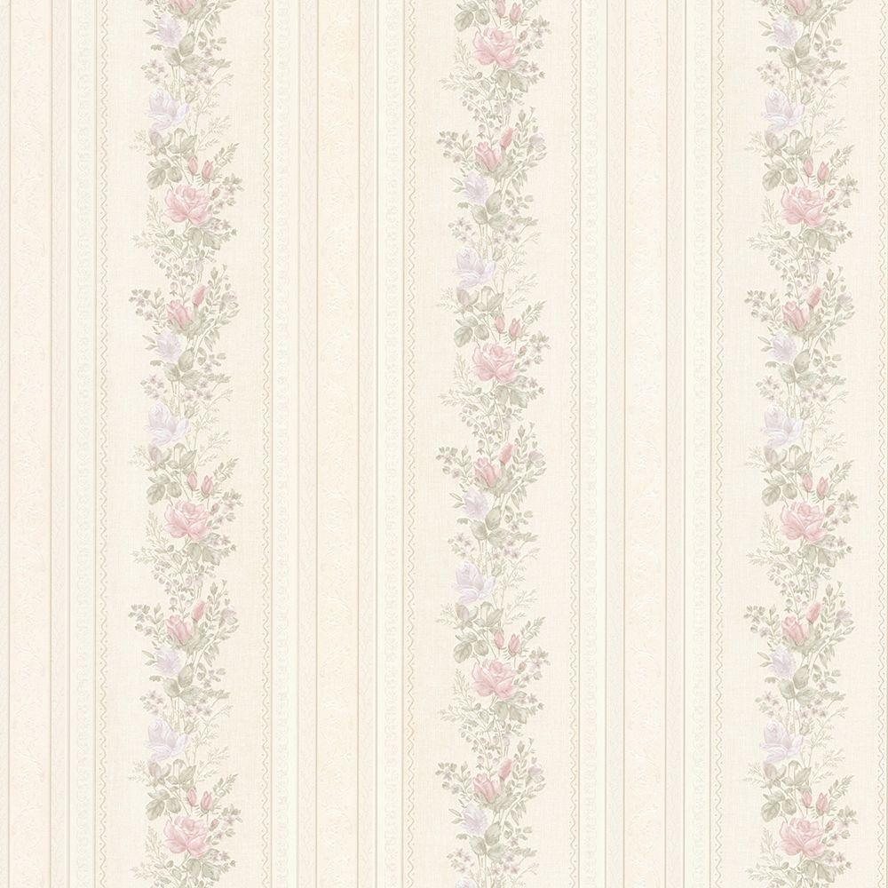 Alexis Pastel Satin Floral Stripe Wallpaper Sample