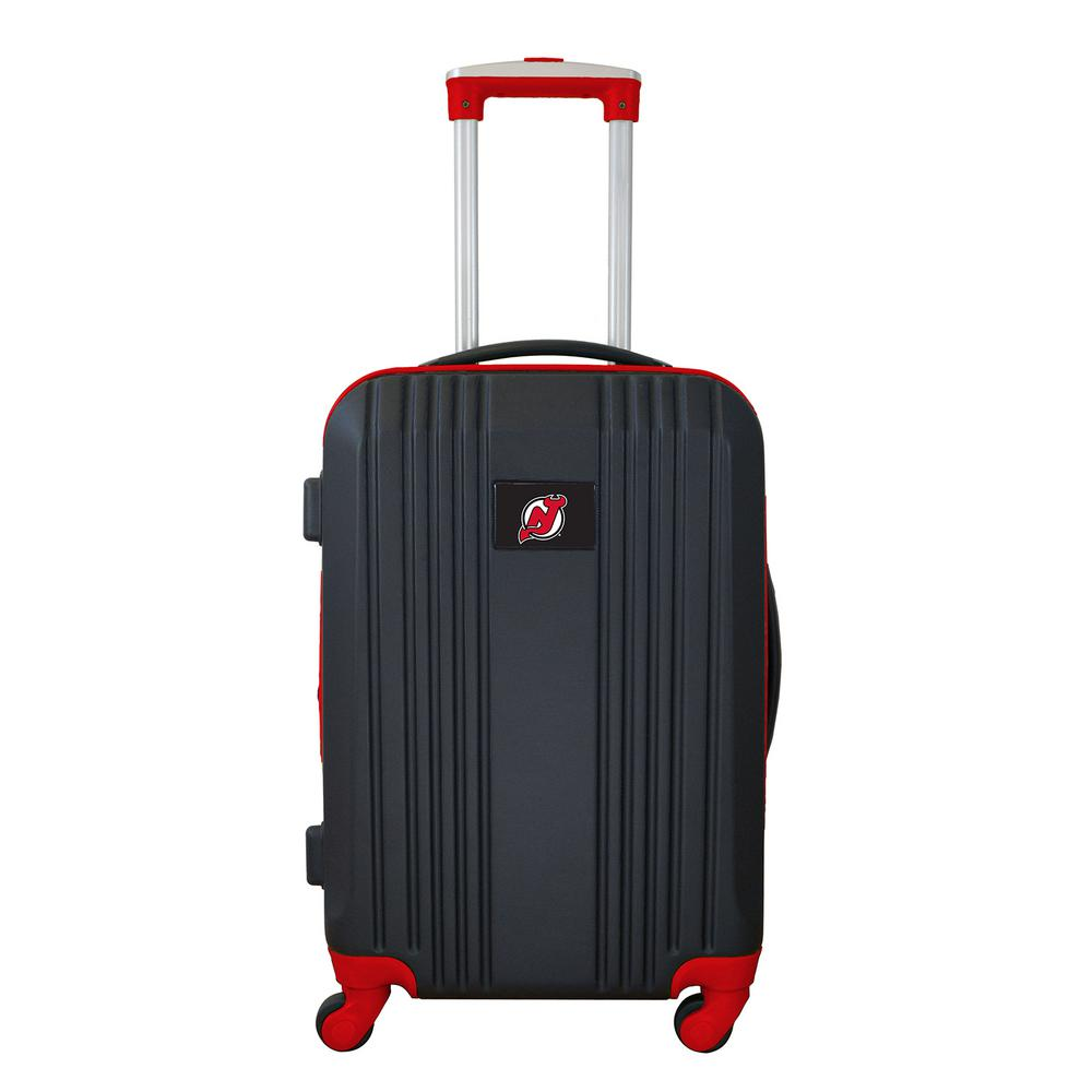 Denco Nhl New Jersey Devils 21 In Red Hardcase 2 Tone Luggage Carry On Spinner Suitcase