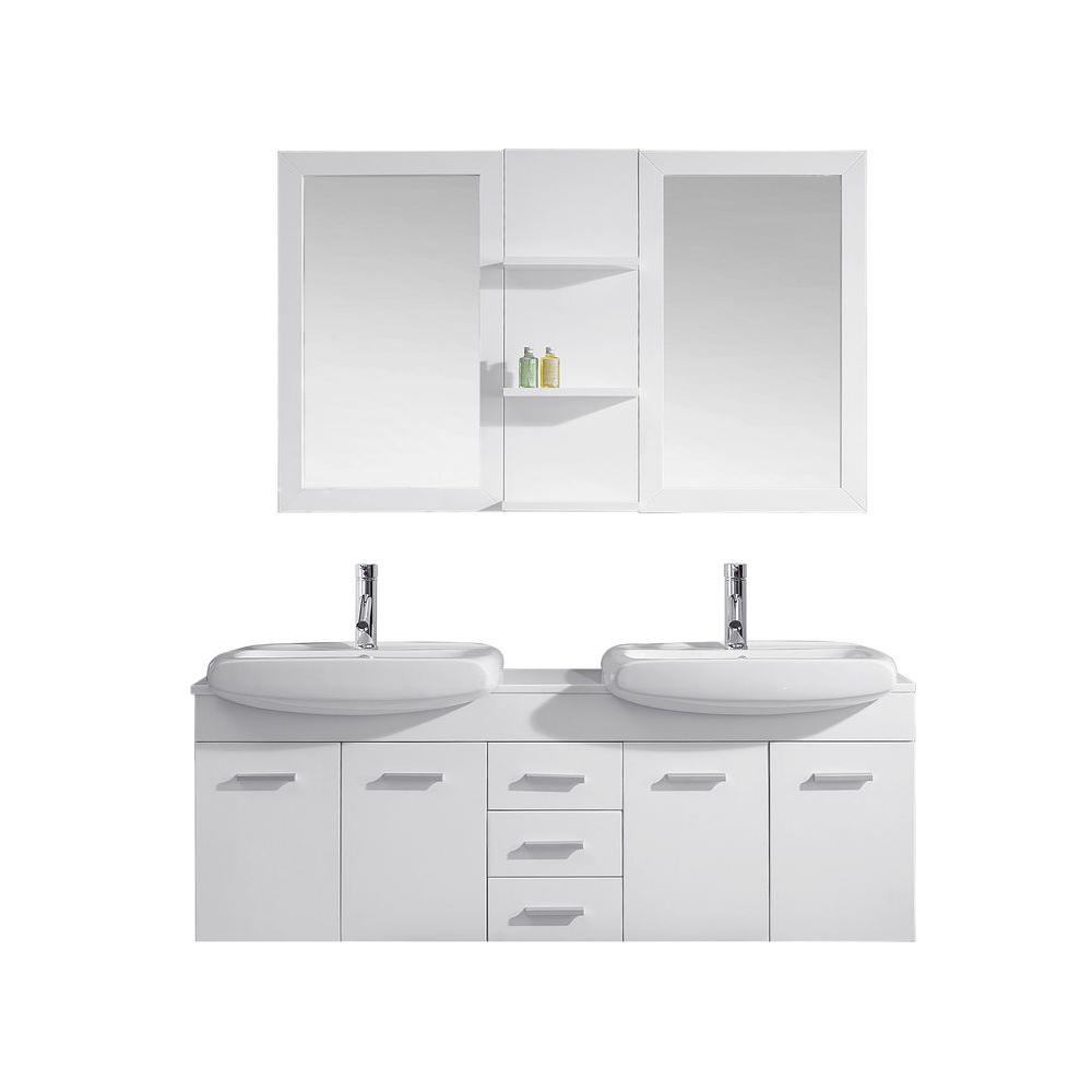 Ophelia 60 in. W x 19 in. D Vanity in White
