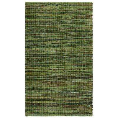 Green Cotton 4 ft. x 6 ft. Area Rag Rug