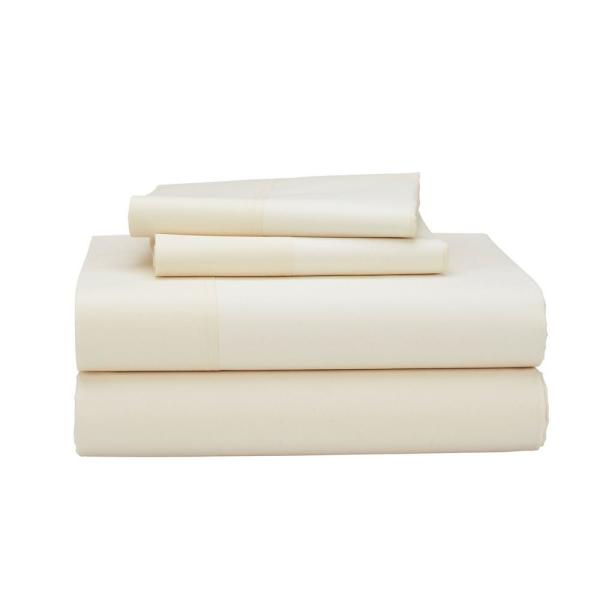 The Company 4 Piece Ivory 400 Thread Count Supima Percale Queen Sheet Set