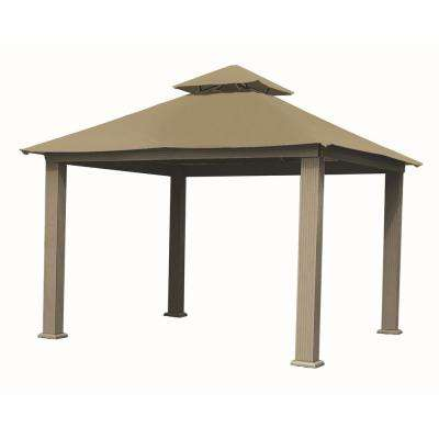 14 ft. x 14 ft. ACACIA Aluminum Gazebo with Khaki Canopy