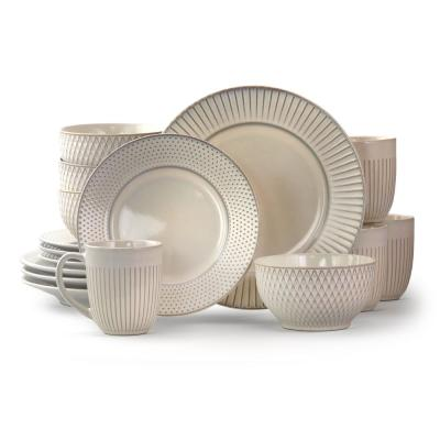 Market Finds 16 Piece Embossed White Stoneware Dinnerware Set (Service for 4)