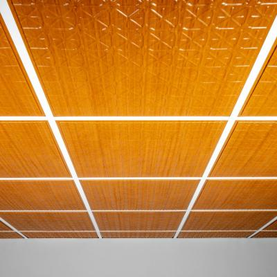 Continental Faux Wood-Caramel 2 ft. x 2 ft. Lay-in or Glue-up Ceiling Panel (Case of 6)