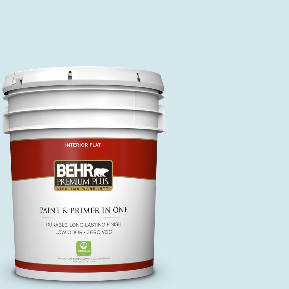 BEHR Premium Plus 5-gal. #520E-1 Coastal Mist Zero VOC Flat Interior Paint