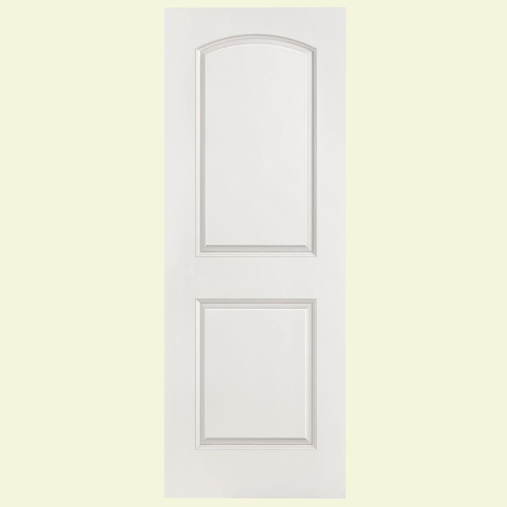 Masonite 32 in x 80 in solidoor roman smooth 2 panel round top solid core primed composite for Solid core interior doors soundproof