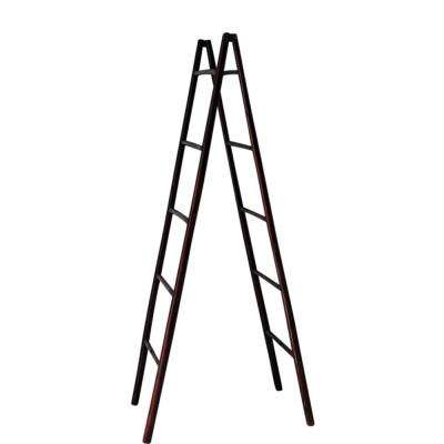 Folding Bamboo 5 ft. Ladder Rack in Mahogany
