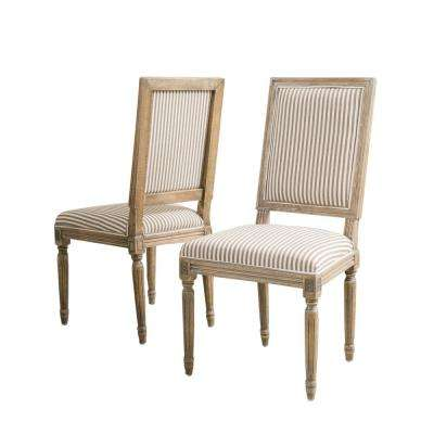Madison Dark Coffee Stripe Fabric Weathered Oak Dining Chair (Set of 2)