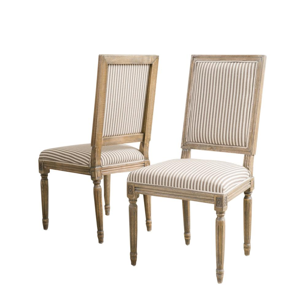NobleHouse Noble House Madison Dark Coffee Stripe Fabric Weathered Oak Dining Chair (Set of 2)