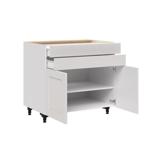 J Collection Shaker Assembled 36x34 5x24 In Base Cabinet With Two 5 In Metal Drawer Box In Vanilla White B36b Ws The Home Depot