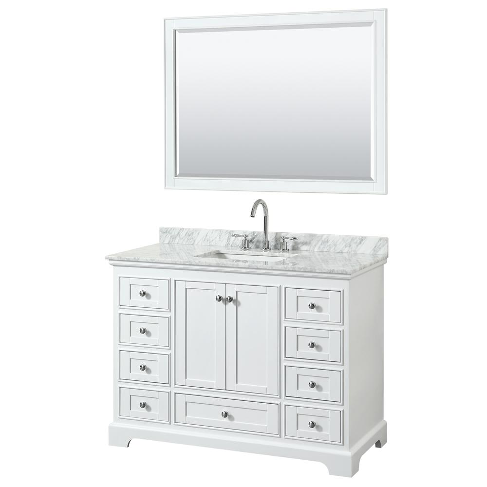 Wyndham Collection Deborah 48 in. W x 22 in. D Vanity in White with Marble Vanity Top in Carrara White with White Basin and 46 in. Mirror