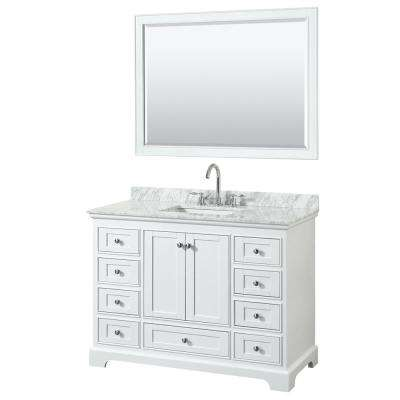 Deborah 48 in. W x 22 in. D Vanity in White with Marble Vanity Top in Carrara White with White Basin and 46 in. Mirror