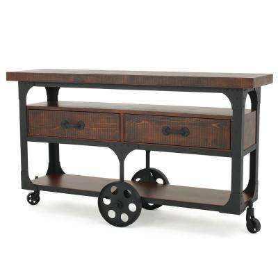 Dark Oak Brown Tv Console With 2 Drawers Shelves And Film Reel Wheels