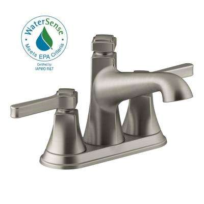Georgeson 4 in. Centerset 2-Handle Bathroom Faucet with Drain in Vibrant Brushed Nickel