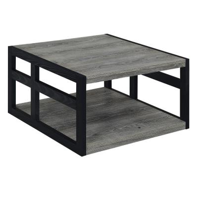 Monterey 18 in. H Weathered Gray and Black Square Coffee Table