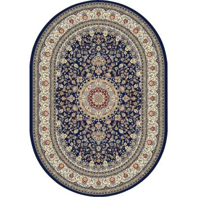 Nicholson Blue/Ivory 7 ft. x 10 ft. Oval Indoor Area Rug