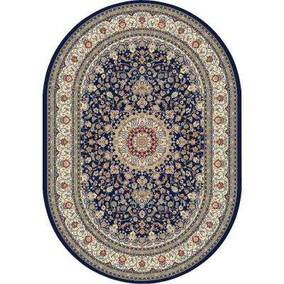 Nicholson Blue/Ivory 7 ft. x 10 ft. Indoor Oval Area Rug