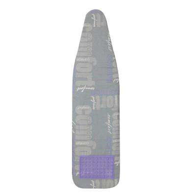 Ultra Plus Series 4-Leg Ironing Board 100% Cotton Mica Sparkle Comfort Print Cover with Purple Silicone Ironrest