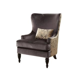 Terrific Sandra Traditional Accent Chair In Dark Gray With Gold Finish Gmtry Best Dining Table And Chair Ideas Images Gmtryco