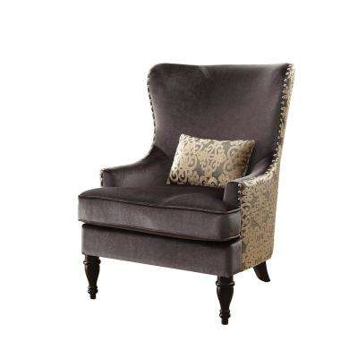 Sandra Traditional Accent Chair in Dark Gray with Gold Finish