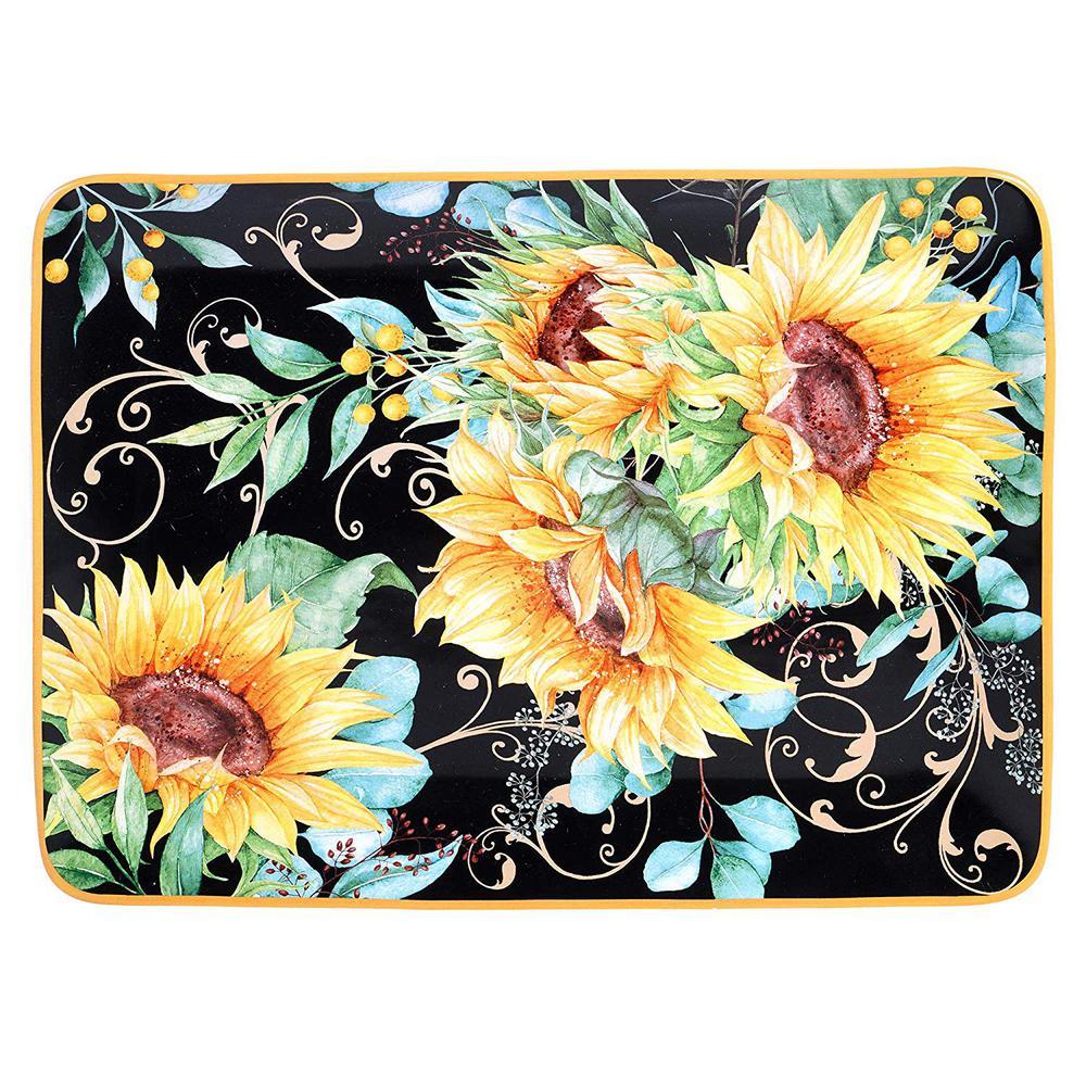 16 in. Sunflower Fields Rectangular Multicolored Platter