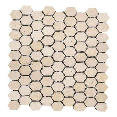Creama Constellation Honeycomb 10-7/8 in. x 11-5/8 in. x 8 mm Honed Marble Mosaic Floor and Wall Tile