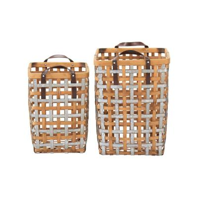 Home Decorators Collection Square Galvanized Metal and Natural Bamboo Woven Decorative Basket with Handles (Set of 2)