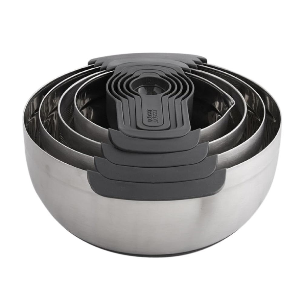 joseph joseph nest 100 stainless steel mixing bowl set 9 piece 03603 the home depot. Black Bedroom Furniture Sets. Home Design Ideas