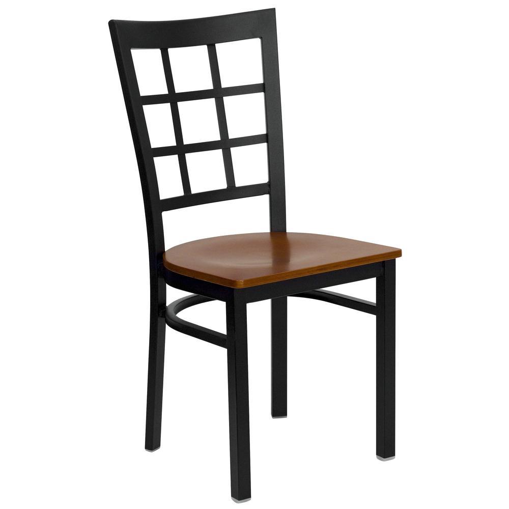 Hercules Series Black Window Back Metal Restaurant Chair with Cherry Wood Seat