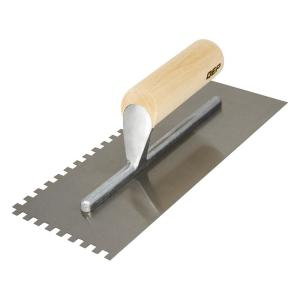 1/4 in. x 1/4 in. x 1/4 in. Traditional Carbon Steel Square-Notch Flooring Trowel with Wood Handle