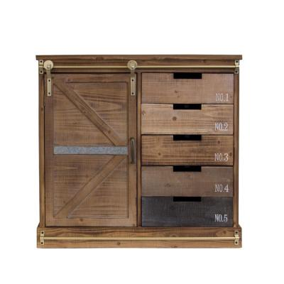 Distressed Antique Barn Wood Fully Assembled 5-Drawer and 2-Shelves with Sliding Barn Style Door Accent Cabinet