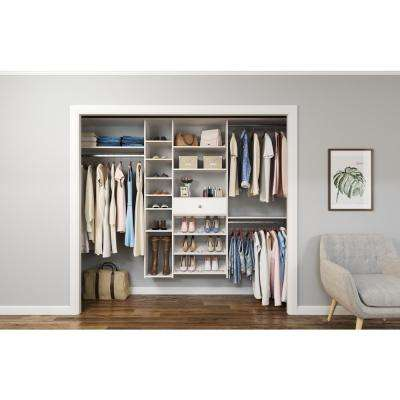 84 in. W - 108 in. W White Wood Closet System