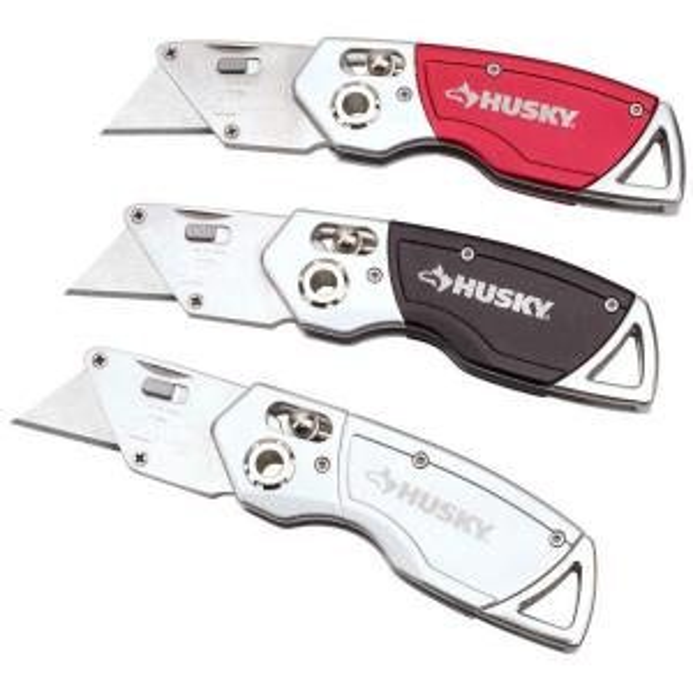 Husky T Lock Folding Utility Knife Set 3 Pack With 6