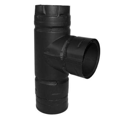 PelletVent 3 in. Tee with Clean-Out Cap in Black