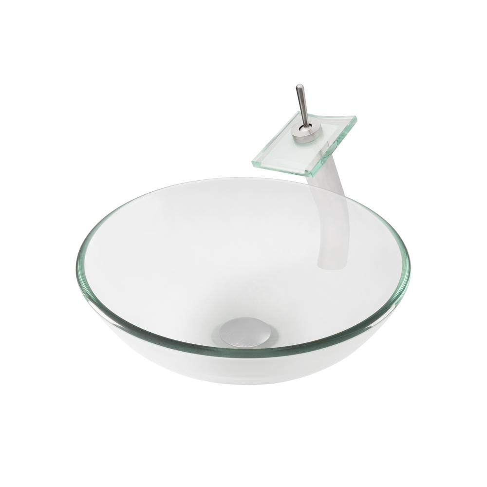 Glass Vessel Sink in Clear with Faucet in Brushed Nickel