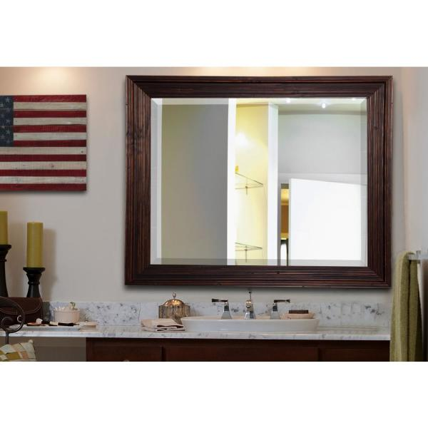 23.75 in. x 35.75 in. Barnwood Brown Rounded Beveled Wall Mirror