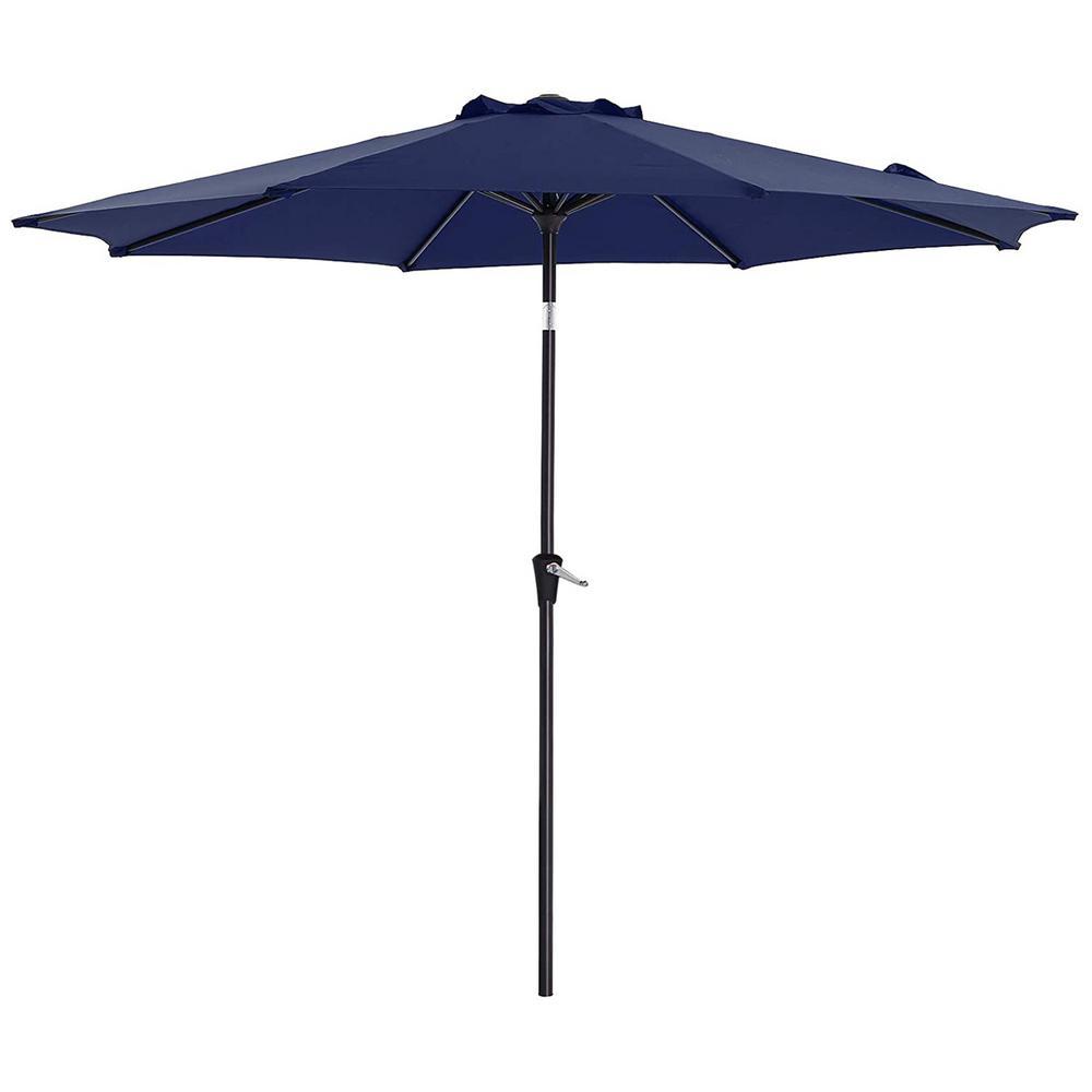 11 ft. Tilt Outdoor Patio Garden Canopy Backyard Market Umbrella Manual Steel Tilt with Crank in Blue