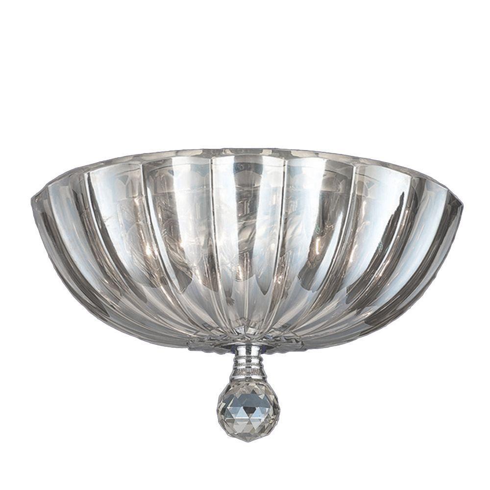 Worldwide Lighting Mansfield 3-Light Chrome Crystal Ceiling Flush Mount Light