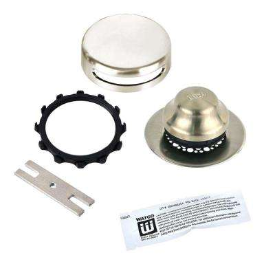 Universal NuFit Foot Actuated Bathtub Stopper with Grid Strainer, Innovator Overflow and Silicone in Brushed Nickel