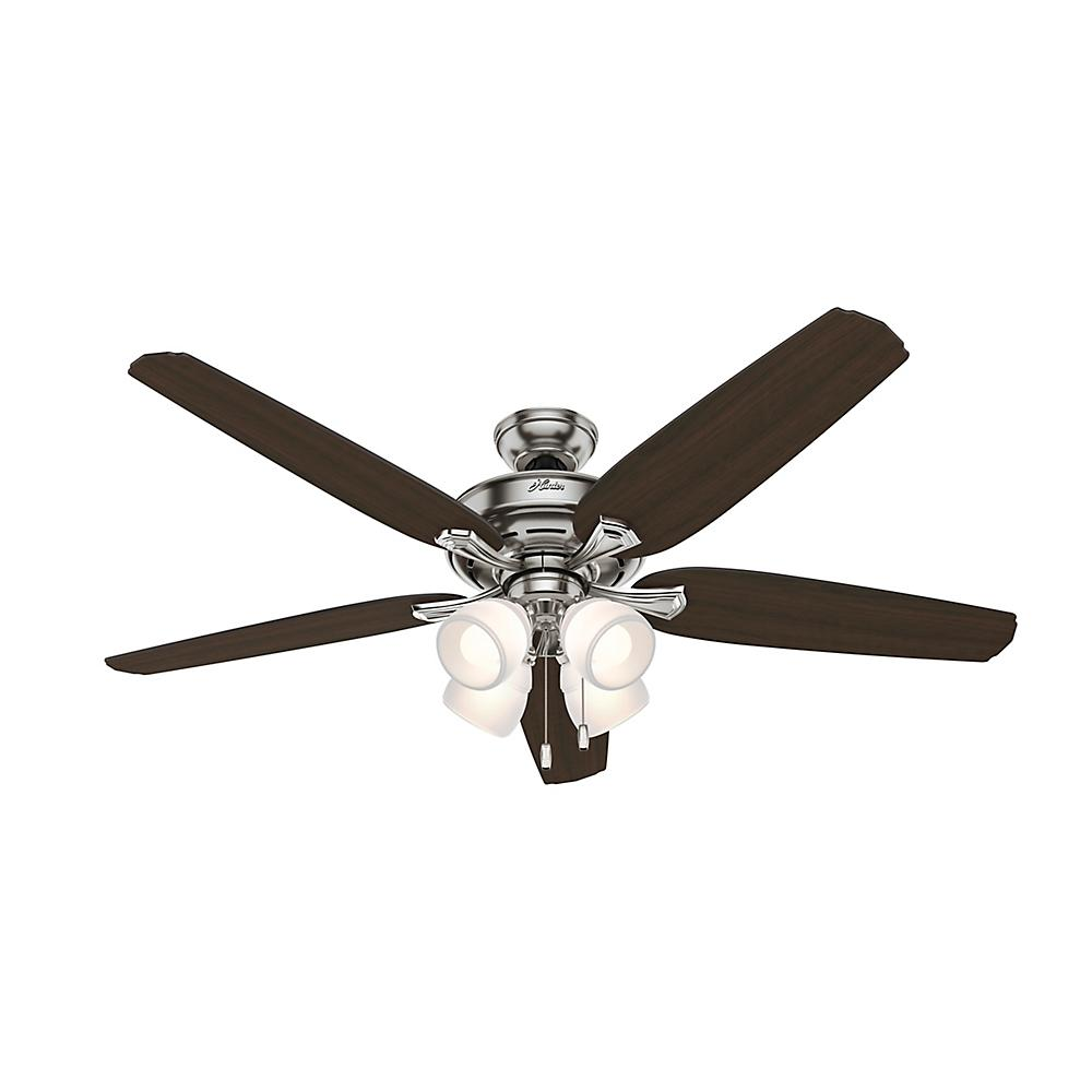 Hunter channing 60 in led indoor brushed nickel ceiling fan with led indoor brushed nickel ceiling fan with light kit aloadofball