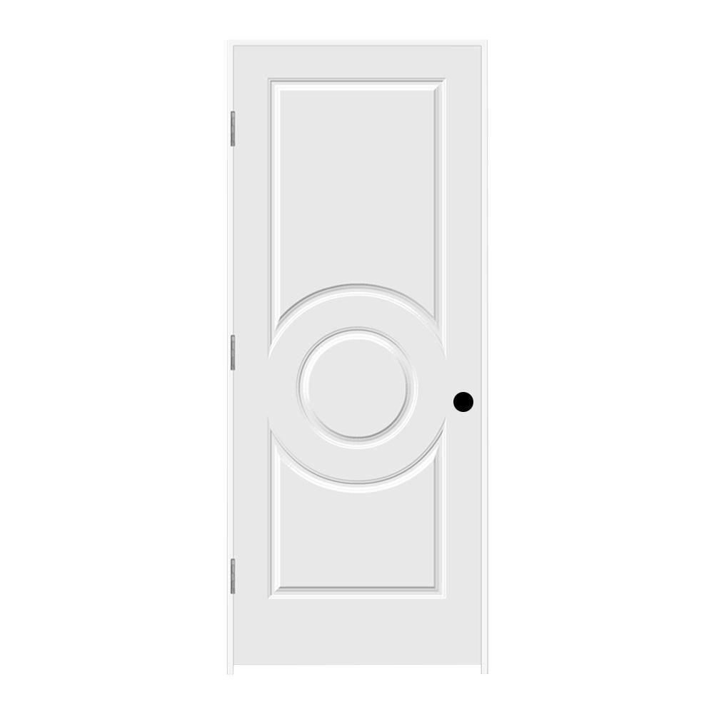 JELD-WEN 32 in. x 80 in. Primed Right-Hand C3140 3-Panel Premium Composite Single Prehung Interior Door