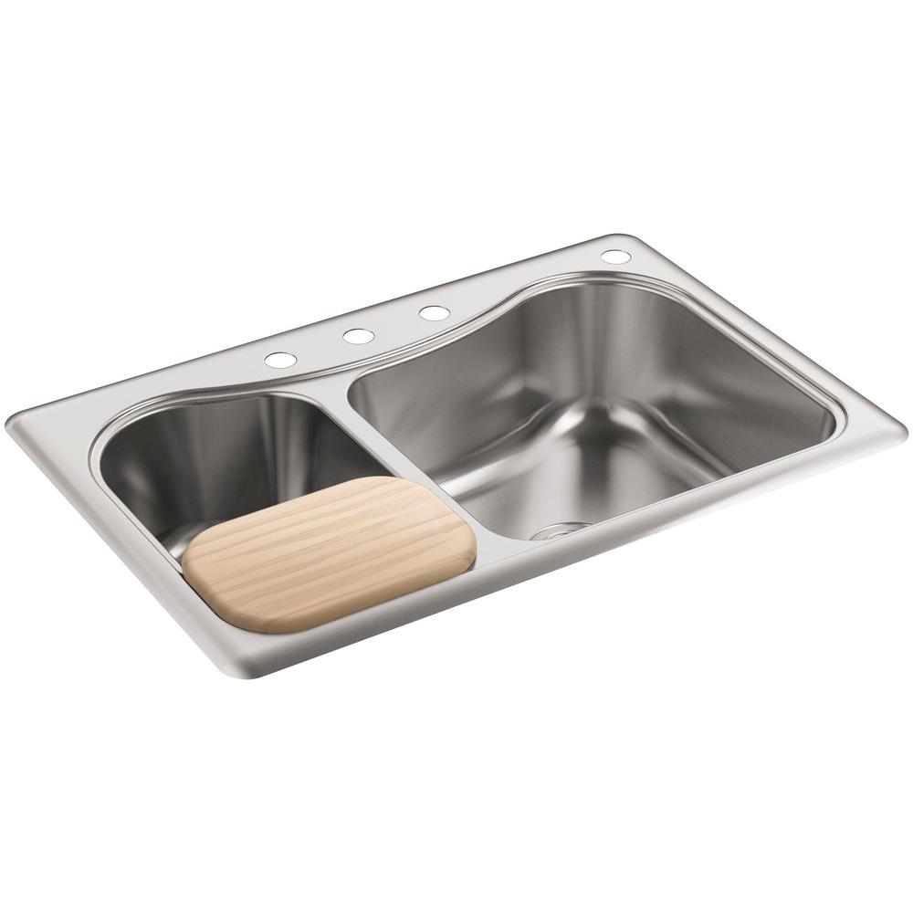 Stainless steel drop in kitchen sinks kitchen sinks the home depot staccato drop in stainless steel 33 in 4 hole double bowl kitchen sink workwithnaturefo