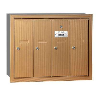 Brass Recessed-Mounted USPS Access Vertical Mailbox with 4 Door